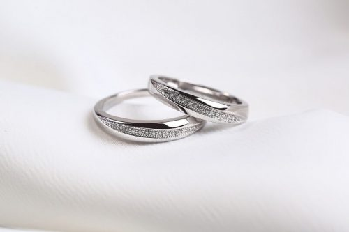 Men's jewellery rings on a soft cloth