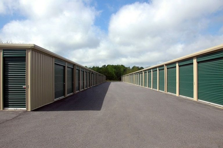 Self storage units and road connecting them