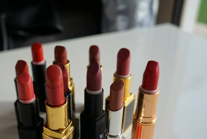 Collection of lipsticks in different shades