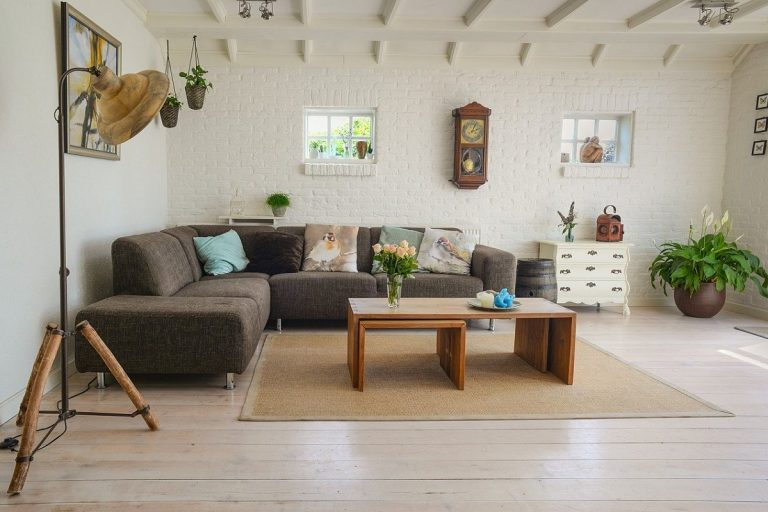 Look of a living room showing its flooring and interior
