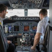 Two pilots sitting in the cockpit