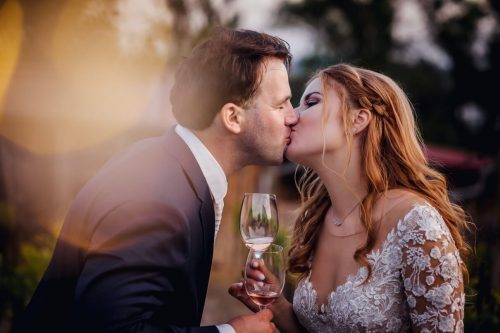 Couple kissing each other on their date
