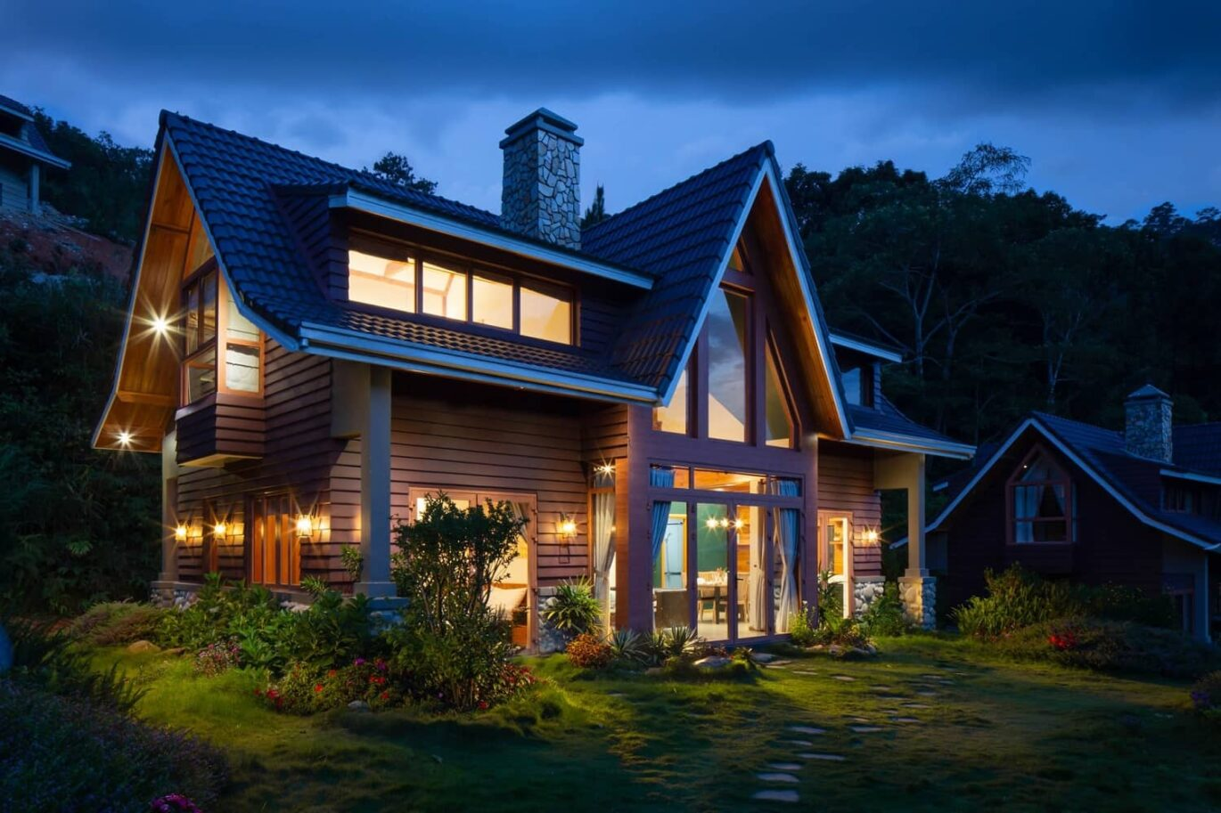A beautiful house with stunning exterior and lights