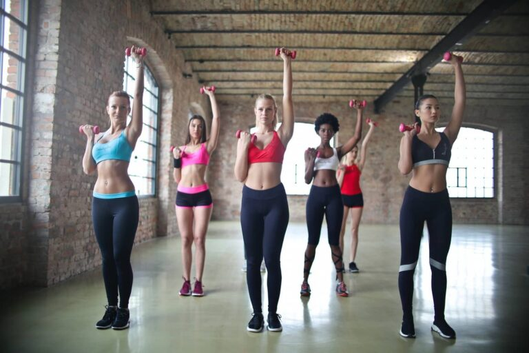 A group of female fitness lovers doing exercise