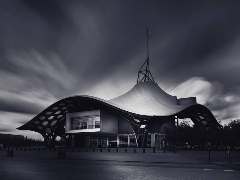 Grayscale photo of Metz museum Centre Pompidou in France