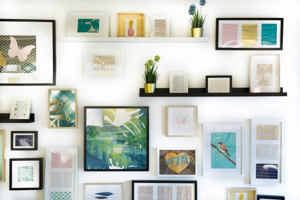 Beautiful photo collages and gallery on a wall