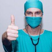 A Nurse posing thumbs up