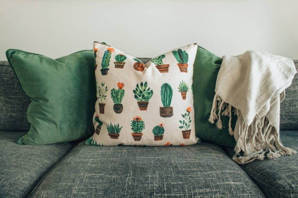 Cushions are placed on a couch